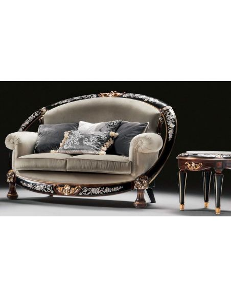 SOFA, COUCH & LOVESEAT 1 Unique and lavish Mother of pearl inlay living room set