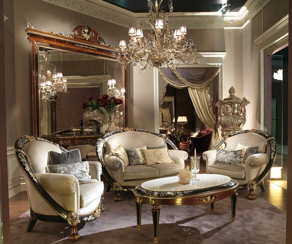 Unique Living Room Furniture Sets: 1 Unique And Lavish Mother Of Pearl Inlay Living Room Set