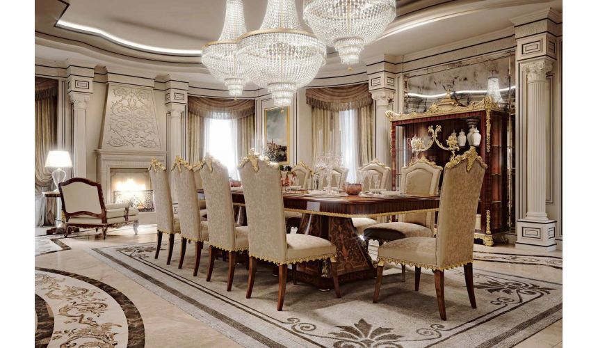 Dining Tables Luxurious White Gold of Winter Furniture Set