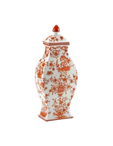 Decorative Accessories Hand painted Floral Vase with Lid