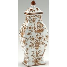 Brown Floral Vase with Lid