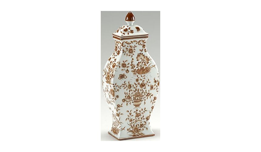 Decorative Accessories Brown Floral Vase with Lid