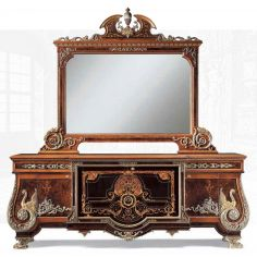 Exquisite empire style breakfront with mirror