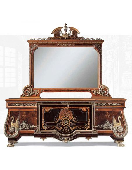 Breakfronts & China Cabinets Exquisite empire style breakfront with mirror