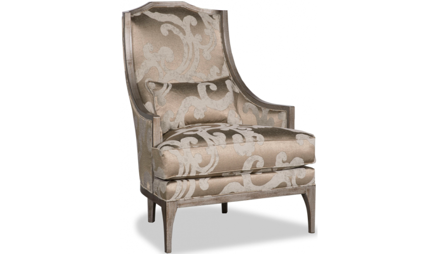 CHAIRS, Leather, Upholstered, Accent Elegant Swirls of Champagne Accent Chair