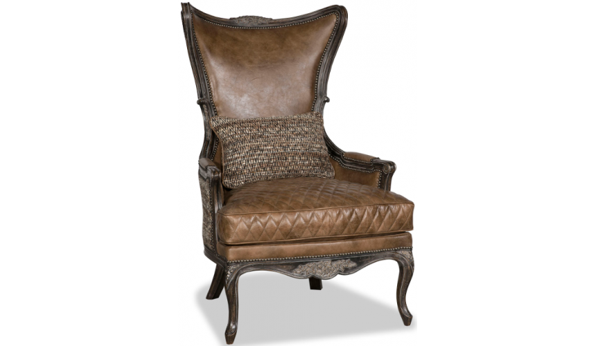 CHAIRS, Leather, Upholstered, Accent Classic and Grand Roasting Chestnuts Accent Chair
