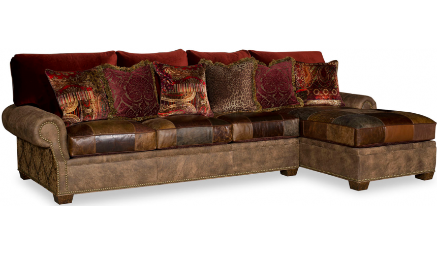 SECTIONALS - Leather & High End Upholstered Furniture Luxurious Leather Patchwork Sofa Sectional
