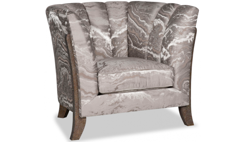 CHAIRS, Leather, Upholstered, Accent Exquisite Crashing Waves in Noir Accent Chair