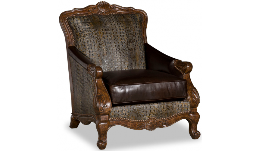 CHAIRS, Leather, Upholstered, Accent Deluxe Throne of the Bayou Accent Chair