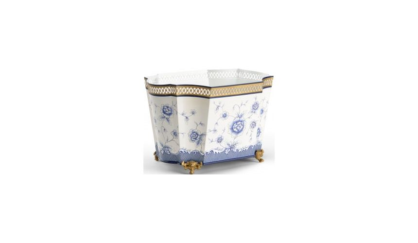 Decorative Accessories Pretty Tole Planter in Blue & White