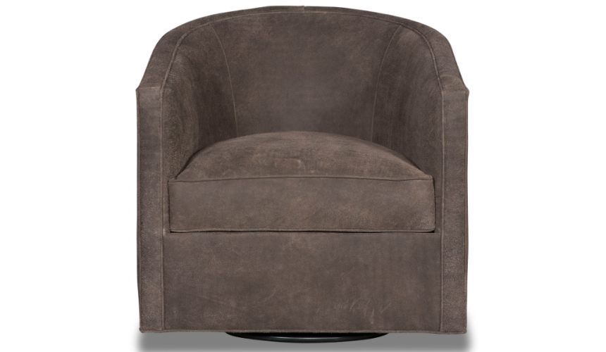 CHAIRS, Leather, Upholstered, Accent Classic and Chic Deep Mocha Swivel Armchair