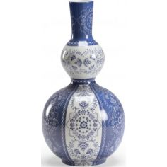 Hand Painted Gourd Vase in Blue & White Hue