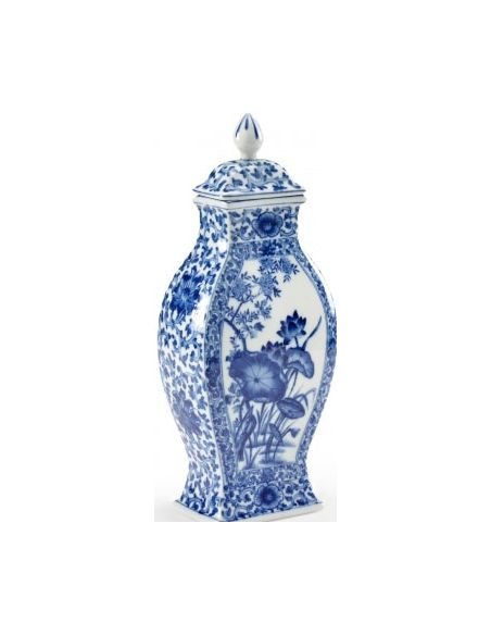 Decorative Accessories Lotus Leaf Patterned Covered Vase