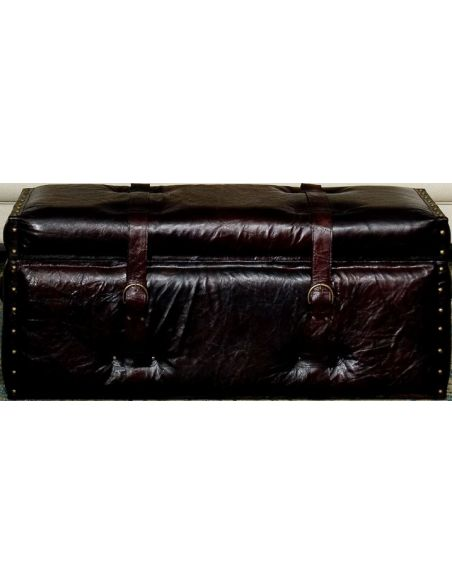 Luxury Leather & Upholstered Furniture Trunk Style Leather Bench