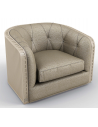 CHAIRS, Leather, Upholstered, Accent Deluxe Strobed in Moonlight Armchair