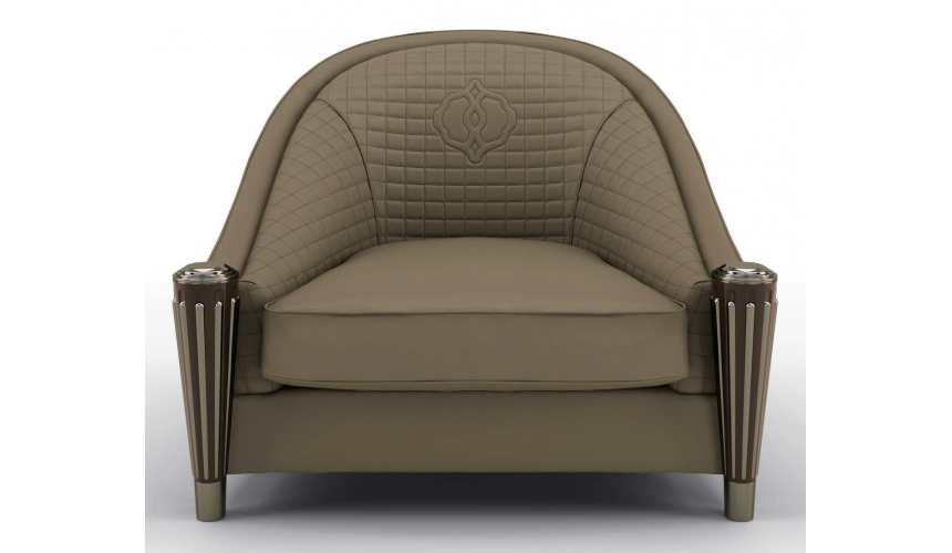 CHAIRS, Leather, Upholstered, Accent Luxurious Italian Olive Armchair