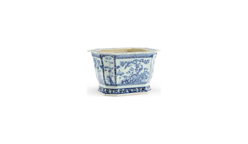 Decorative Accessories Blue Floral Planter