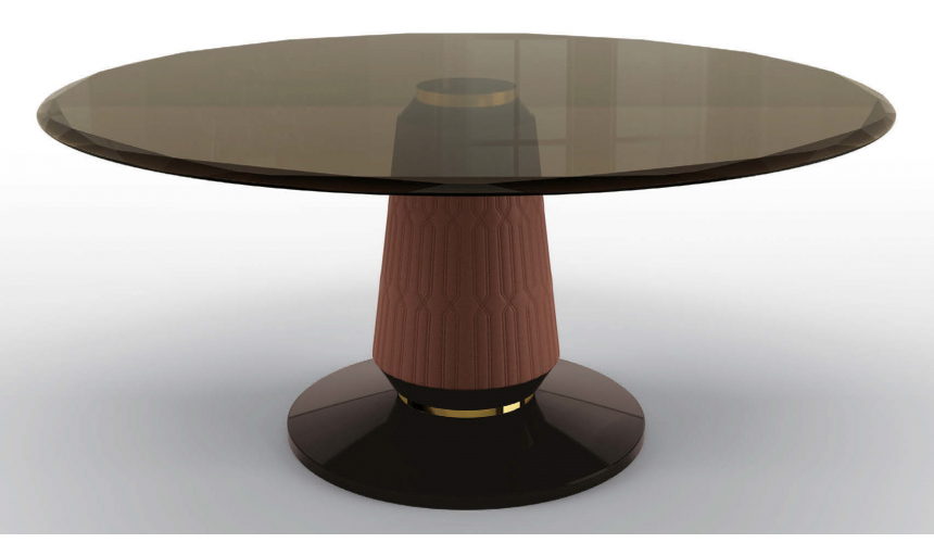 Dining Tables Deluxe Char Brown Round Dining Table
