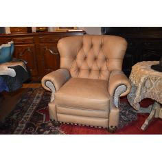 Leather and Gator Hide Churchill Tufted Recliner Chair 6622