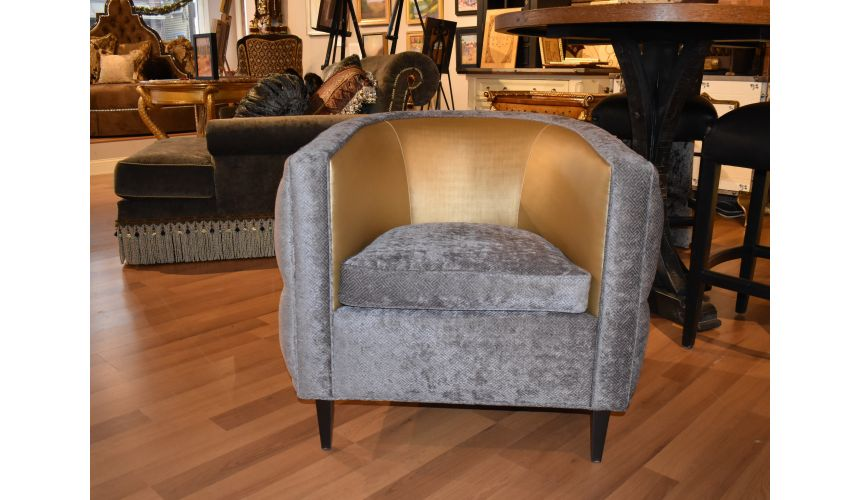 Luxury Leather & Upholstered Furniture transitional style tufted barrel chair