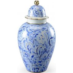 Chelsea Marbelized Urn in White and Blue