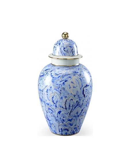 Decorative Accessories Chelsea Marbelized Urn in White and Blue