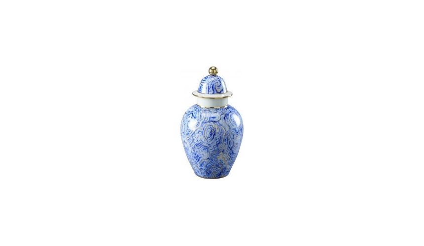 Decorative Accessories Small Marbelized Urn with A Lid