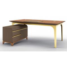 Sleek and Sophisticated Writer's Dream Square Desk + Return Desk
