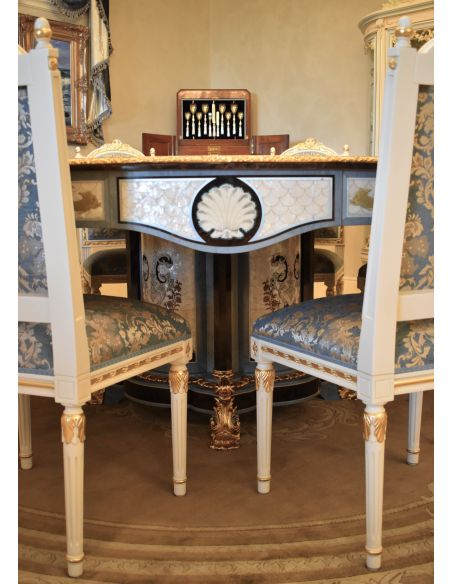 Dining Tables LUXURY FURNITURE CUSTOM MOTHER OF PEARL BOULLE ROUND DINING TABLE.