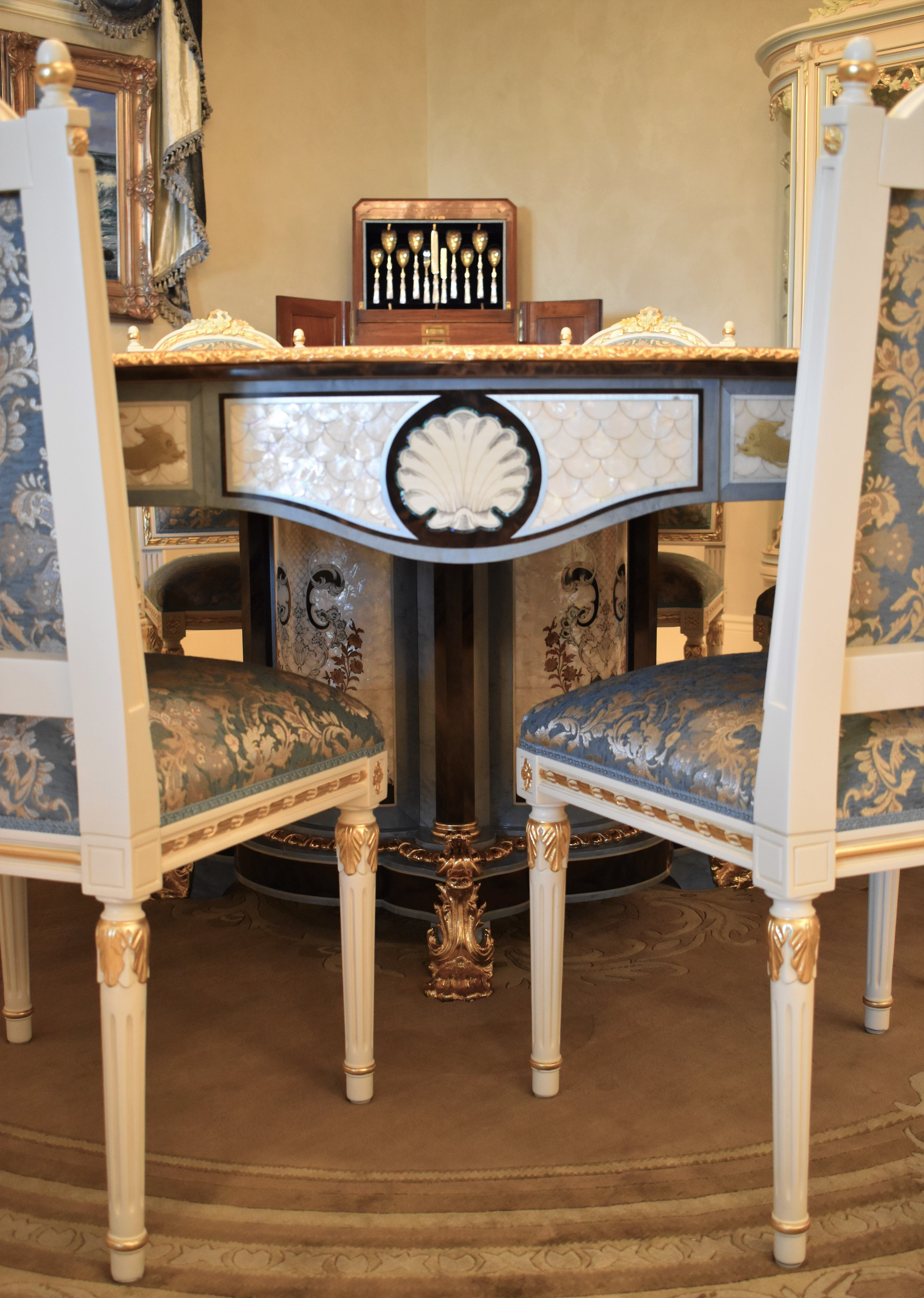 custom dining room tables   LUXURY FURNITURE CUSTOM MOTHER OF PEARL BOULLE ROUND ...