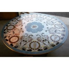 LUXURY FURNITURE CUSTOM MOTHER OF PEARL BOULLE ROUND DINING TABLE.