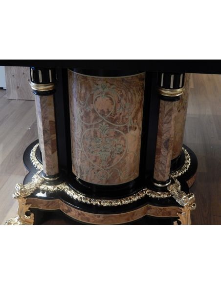 Breakfronts & China Cabinets Luxury medium size breakfront cabinet. King Louis Collection Boulle marquetry work.