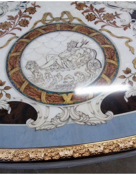 Furniture Masterpieces King Louis Collection. Boulle marquetry work on dining table top