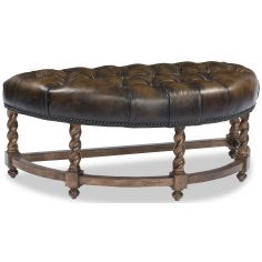 Walnut Tufted Semi Circle Ottoman