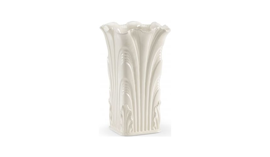 Decorative Accessories White Glazed Square Acanthus Vase