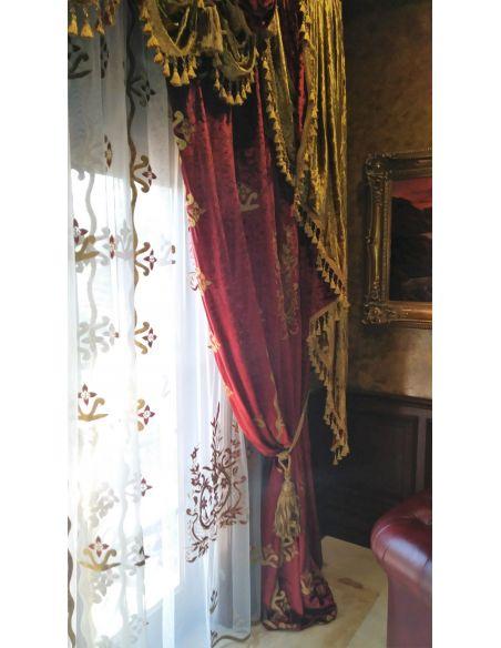 Custom Window Treatments Embroidered Cardinal Red custom made draperies