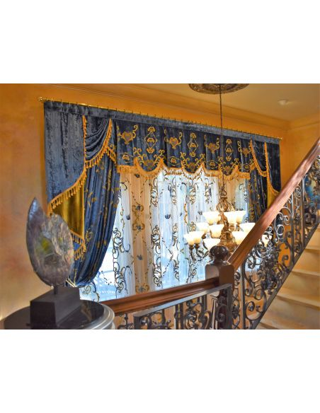 Custom Window Treatments Royal Blue and Gold embroidered custom made draperies