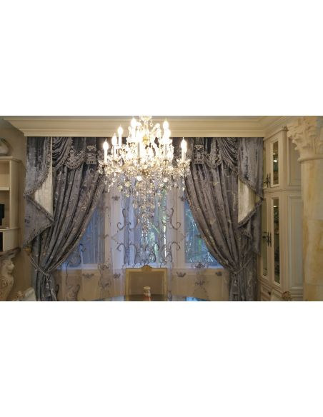 Custom Window Treatments Embroidered custom made draperies ocean blue with glimmering silver metal thread