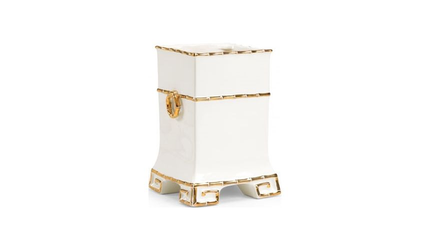 Decorative Accessories Greek Key Vase with Gold Accents