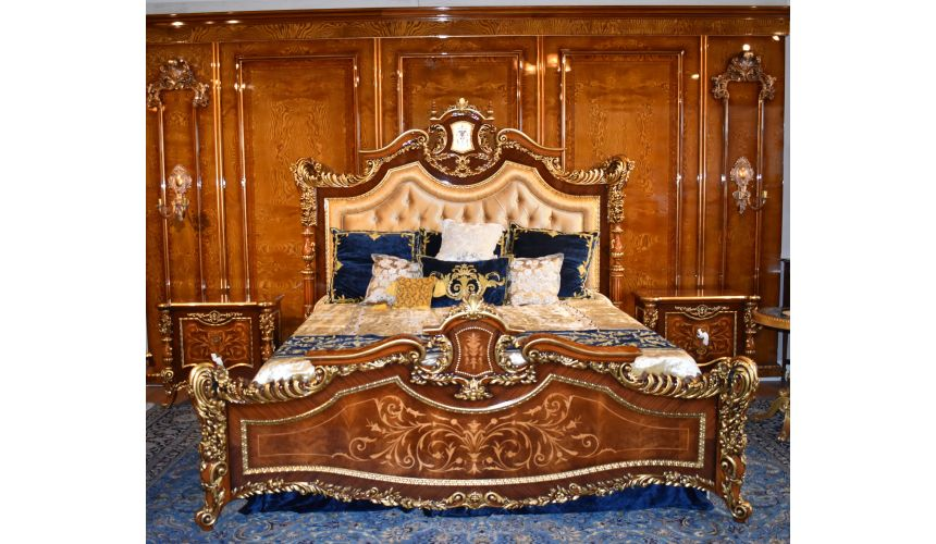 LUXURY BEDROOM FURNITURE Master bed with tufted headboard. Furniture Masterpiece Collection.