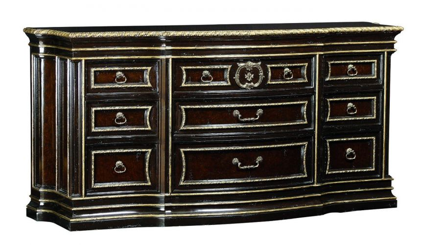 French Style Furniture Large wood dresser with silver highligted trim
