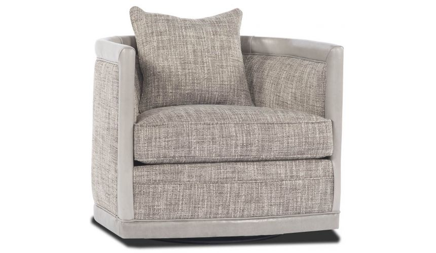 Luxury Leather & Upholstered Furniture Grey Tweed Swivel Chair