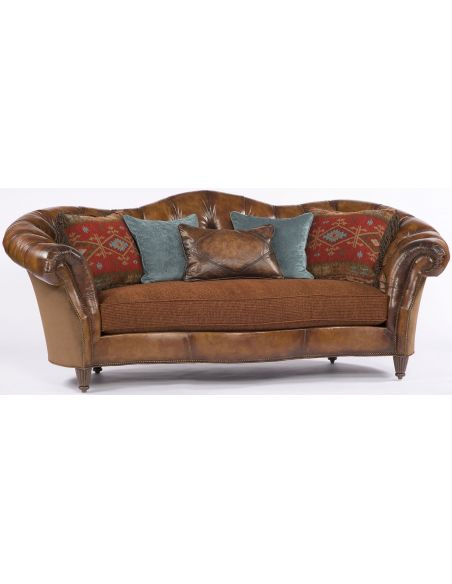 SOFA, COUCH & LOVESEAT Chocolate Leather Wrap Around Sofa