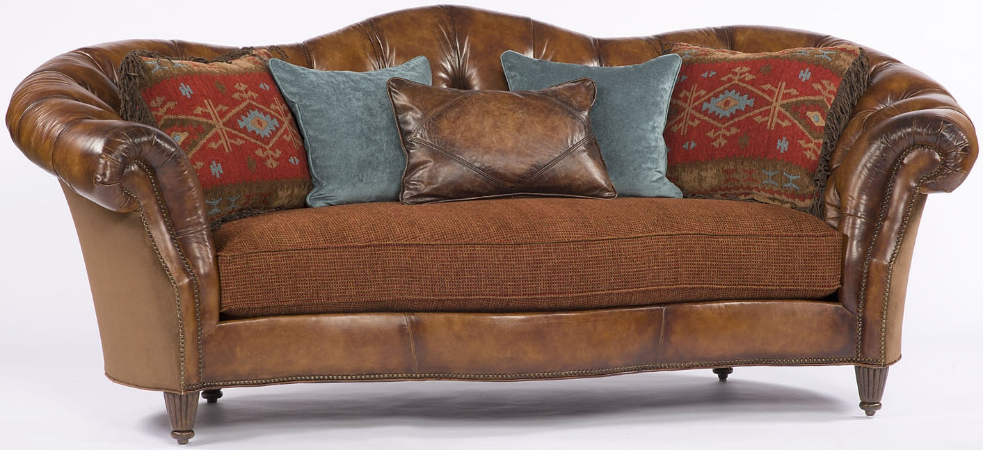 Chocolate Leather Wrap Around Sofa
