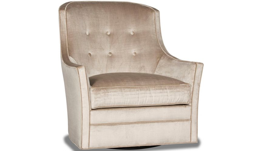 MOTION SEATING - Recliners, Swivels, Rockers Gorgeous Champagne Pop Swivel Armchair