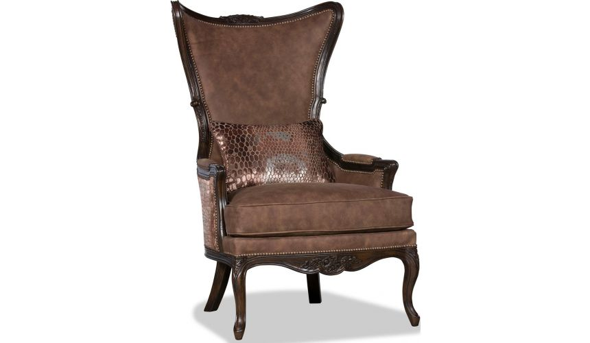 CHAIRS, Leather, Upholstered, Accent Gorgeous Forrest Brown Accent Chair