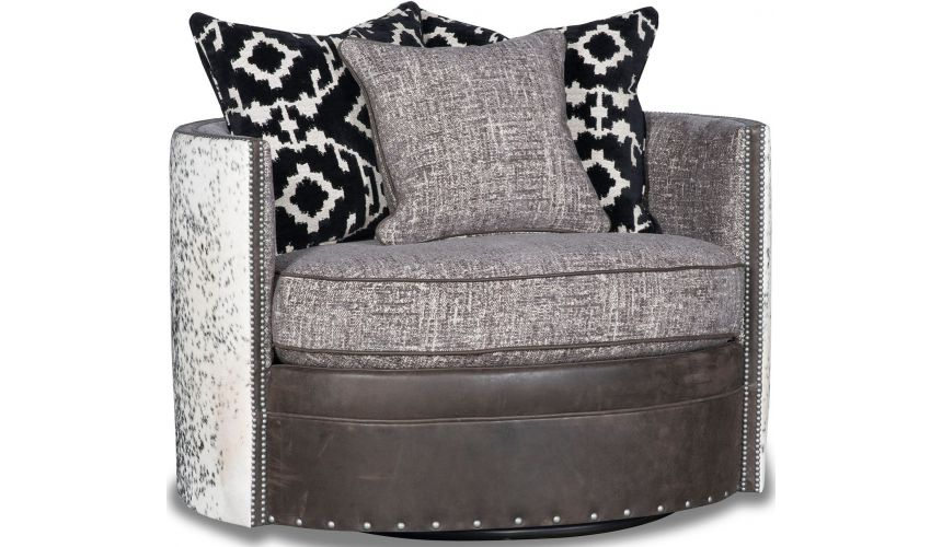 MOTION SEATING - Recliners, Swivels, Rockers Beautiful Winter Wolf Swivel Armchair