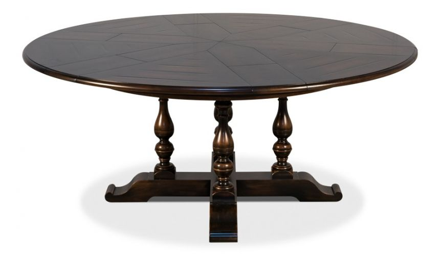 Dining Tables 100 inches open. Jupe table with self storing leaves, Dark walnut