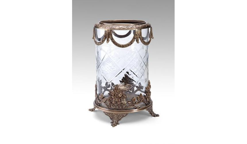 Decorative Accessories High Quality Furniture Cut Glass Hurricane Light