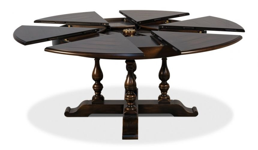 Dining Tables 70 inches open. Jupe table with self storing leaves, Dark walnut